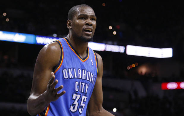 photo -                     Kevin Durant reacts to a call at the AT&T Center in San Antonio on Monday.                                                                             Photo by Sarah Phipps, The Oklahoman