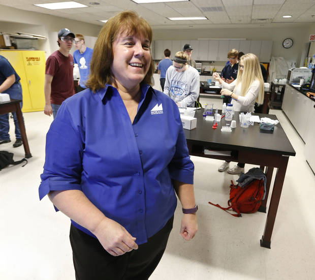 Debbie Short, STEM instructor at Meridian Technology Center conducts class on Tuesday, March 13, 2018 in Stillwater, Okla. Photo by Steve Sisney, The Oklahoman