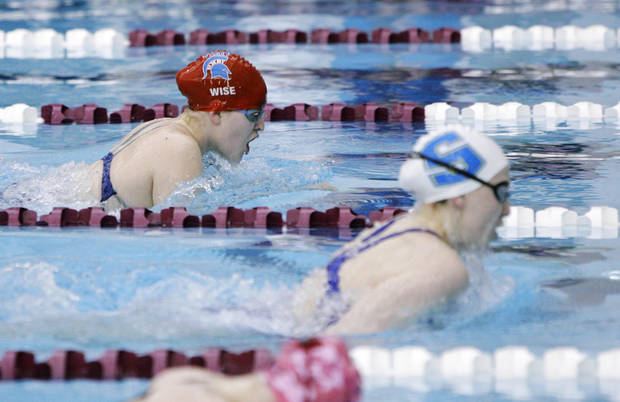 photo - Bixby's Kaitlyn Wise competes in the 200 yard medley relay race during the class 5A swimming finals in Jenks, Okla., taken on February 16,2013. JAMES GIBBARD/Tulsa World ORG XMIT: DTI1302162004538950