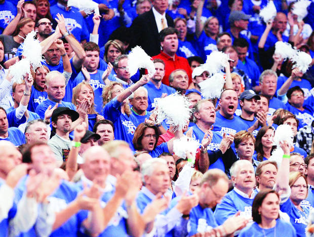 photo - Thunder fans cheer during the playoff series against Los Angeles. PHOTO BY NATE BILLINGS, THE OKLAHOMAN