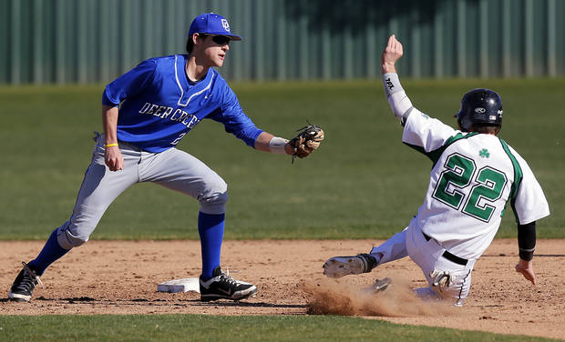 photo - Left: Bishop McGuinness' Bradley Fritch is caught stealing second base by Deer Creek's Jordan Boyer during a baseball game at Bishop McGuinness in Oklahoma City.  Photo by Nate Billings,  The Oklahoman