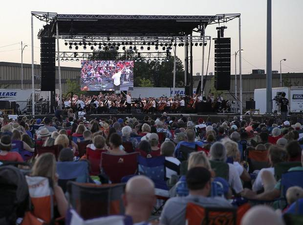 The crowd listens during the Oklahoma City Philharmonic's Red, White and Boom fireworks and concert at the State Fair Park in Oklahoma City, Tuesday, July 3, 2018. [Sarah Phipps/The Oklahoman Archives]