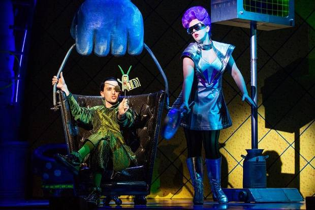 "Tristan McIntyre plays Sheldon Plankton and Caitlin Ort plays Karen the Computer in ""The SpongeBob Musical."" [Jeremy Daniel photo]"