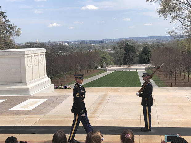 The changing of the guard at the Tomb of the Unknown Soldier in Arlington National Cemetery. (Photo by Berry Tramel)
