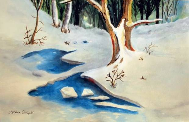 photo -  Snowscape, Althea Wright, watercolor. Image from University Marketing/Oklahoma State University