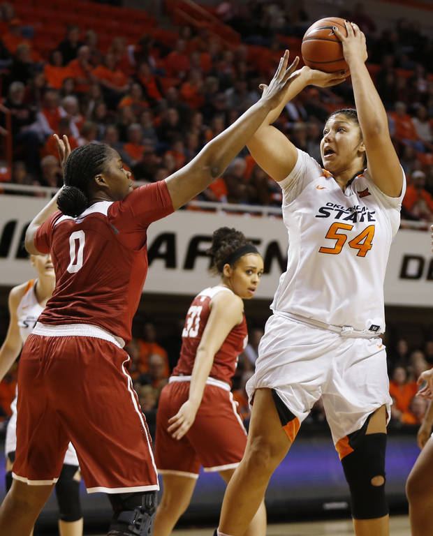 Oklahoma State's Kaylee Jensen (54) shoots against Oklahoma's Vionise Pierre-Louis (0) during the Bedlam women's college basketball game between the Oklahoma State Cowgirls (OSU) and Oklahoma Sooners (OU) at Gallagher-Iba Arena in Stillwater, Okla., Saturday, Feb. 4, 2017. Photo by Nate Billings, The Oklahoman