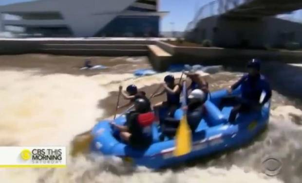 Screen cap from CBS This Morning video about the Riversport Rapids in Oklahoma City.