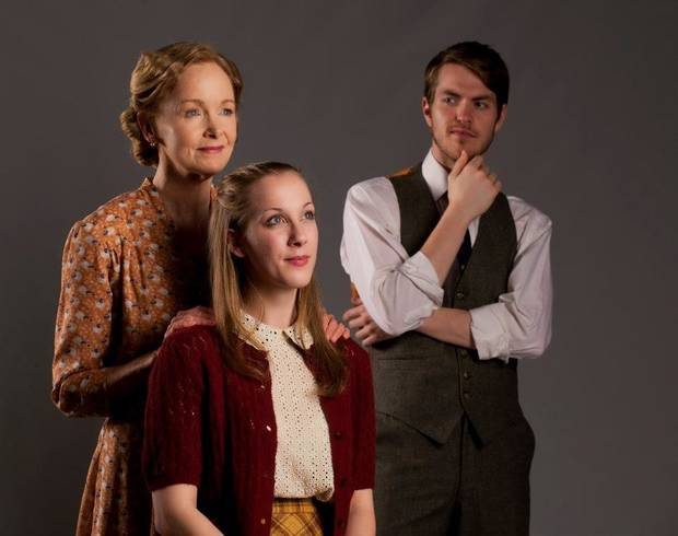 photo - Helen Hedman as Amanda Wingfield, Lindsay Pittman as Laura Wingfield and Alex John Enterline as Tom Wingfield in Lyric's THE GLASS MENAGERIE. Photo by Keith Rinearson