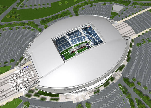 photo - Parking outside the Dallas Cowboys' new stadium for OU-BYU will cost fans a gut-wrenching $38.  AP Photo/Dallas Cowboys