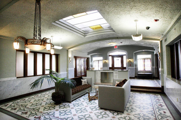 photo - The Sieber's renovated lobby greets residents and guests. Photo BY PAUL B. SOUTHERLAND, THE OKLAHOMAN