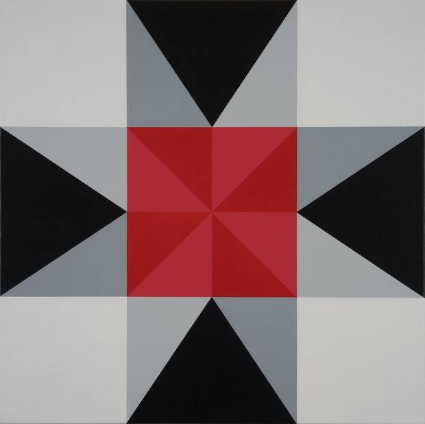 "Painter Jason Wilson's painting ""Intersection (Red)"" inspired new quilts by the seven quilters in the Oklahoma art collaboration Qu'aint. [Image provided]"