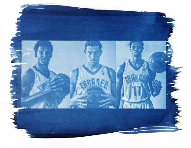 photo - From left, Oklahoma City's Hasheem Thabeet (34), Nick Collison (4) and Jeremy Lamb are shown in this cyanotype print made from photos taken during the Oklahoma City Thunder media day on Friday, Sept. 27, 2013, in Oklahoma City. Photo by Chris Landsberger, The Oklahoman. Cyanotype print by Nate Billings, The Oklahoman
