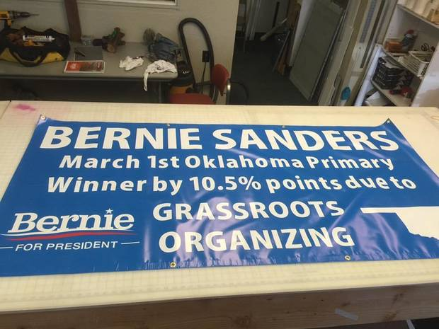 Banner made before the convention. -- Photo via Bill Dower, an Oklahoma delegate attending the Democratic National Convention in Philadelphia.