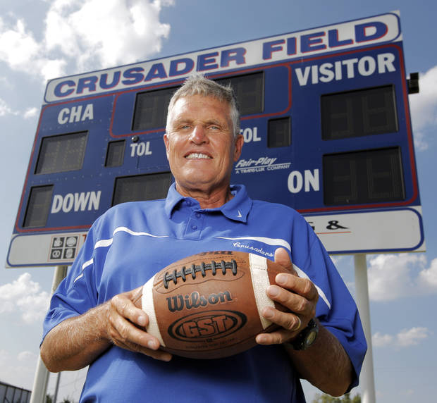 photo - HIGH SCHOOL FOOTBALL: Christian Heritage Academy head football coach John Merrell poses for a photo at the CHA football facility in Oklahoma City, Thursday, August 19, 2010.  Photo by Nate Billings, The Oklahoman ORG XMIT: KOD