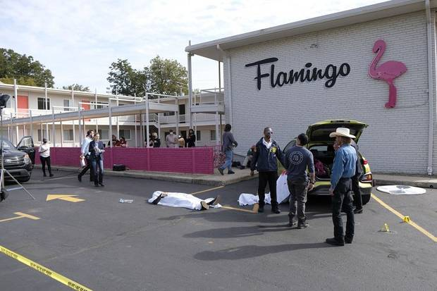 "Cast and crew work on the set of the Oklahoma film ""Out of Exile"" at the Flamingo Apartments on NW 23 St. Thursday, October 15, 2020. [Doug Hoke/The Oklahoman]"
