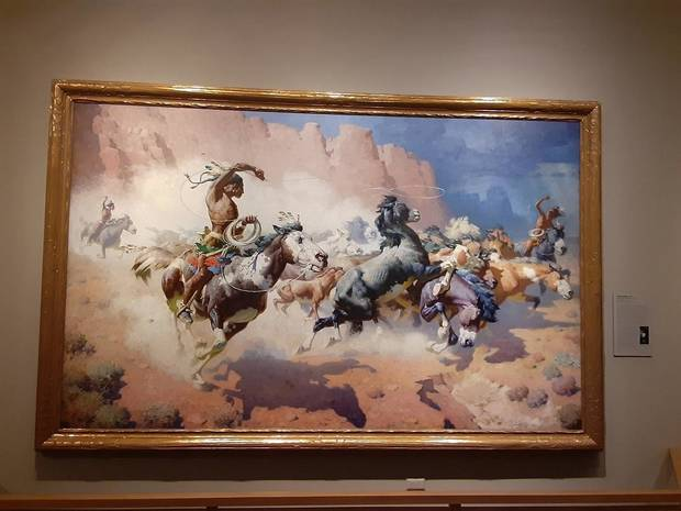 """The Leader's Downfall,"" by William R. Leigh, is on view in the National Cowboy & Western Heritage Museum's newly remodeled Atherton Gallery. [Brandy McDonnell/The Oklahoman]"