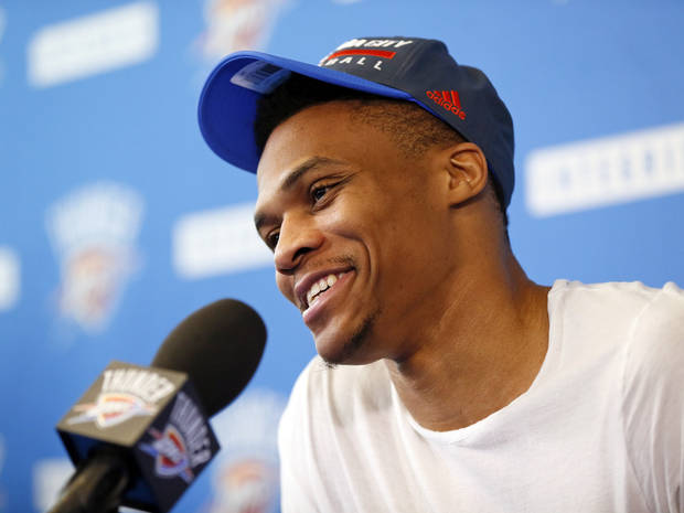 Oklahoma City's Russell Westbrook (0) speaks to the press during exit interviews for the Oklahoma City Thunder at the team's practice facility in Oklahoma City, Wednesday, June 1, 2016. Photo by Nate Billings, The Oklahoman