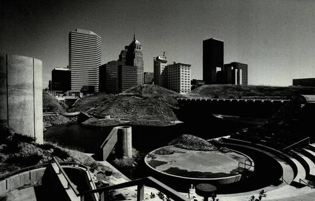 In September 1982, the Myriad Gardens was beginning to take shape against the Oklahoma City skyline.  [Photo by Jim Argo, The Oklahoman Archives]