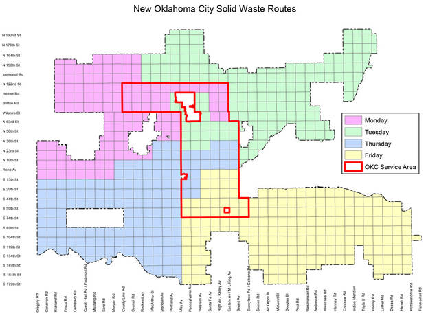 Consolidated trash routes taking effect next week generally mean trash will be collected in northwest Oklahoma City on Monday, northeast on Tuesday, southwest on Thursday and southeast on Friday. [City of Oklahoma City]
