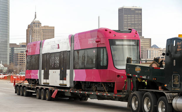 Oklahoma City's first modern streetcar arrived at the maintenance shop at SW 7 Street and Hudson Avenue Tuesday morning. It was parked overnight at a truck stop near downtown after arriving Monday [Photo by Steve Sisney, The Oklahoman]