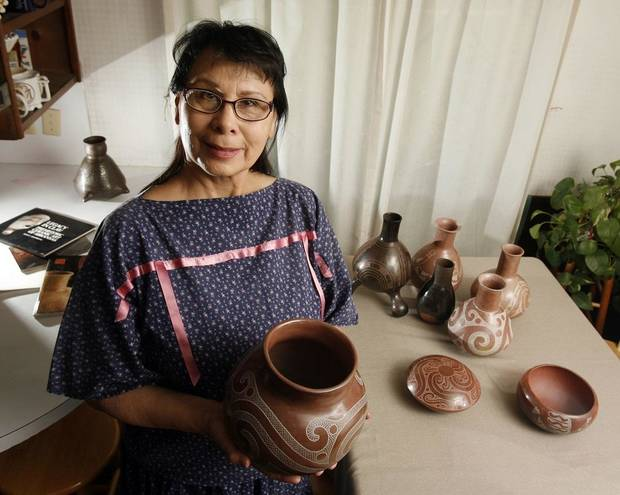 Jeri Redcorn, Caddo potter, poses for a photo at her home in Norman, Okla. on Thursday, May 28, 2009. [The Oklahoman Archives]