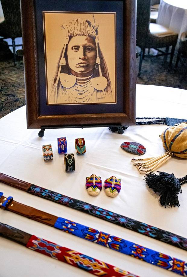 Artwork by Caddo artist Yonavea Hawkins is displayed during a Red Earth press conference at the Petroleum Club in Oklahoma City, Okla. on Monday, Feb. 17, 2020. The news conference announced a new location for the annual Red Earth Festival, a new fall event to mark Oklahoma City's Indigenous Peoples Day and the launch of arts events around the state. [Chris Landsberger/The Oklahoman]