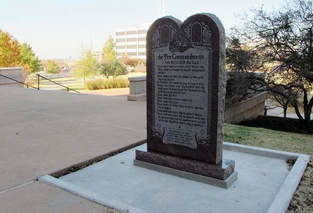 photo - A Ten Commandments monument erected outside the Oklahoma state Capitol is shown on Nov. 16, 2012. AP FILE PHOTO