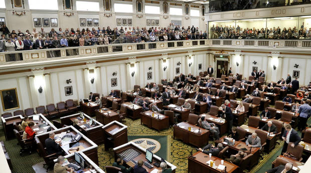 All seats in the gallery of the House chambers were taken as debate began. A $132 million funding bill, that if approved would all but end the state budget crisis, is debated by lawmakers in the House of Representatives on Wednesday afternoon. [Photo by Jim Beckel, The Oklahoman]