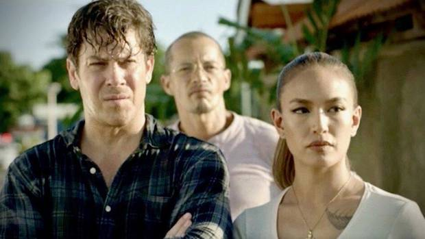 "From left, Christian Kane, Arthur Acuña and Samantha Richelle star in the new series ""Almost Paradise,"" premiering Monday on WGN America. [Photo provided]"