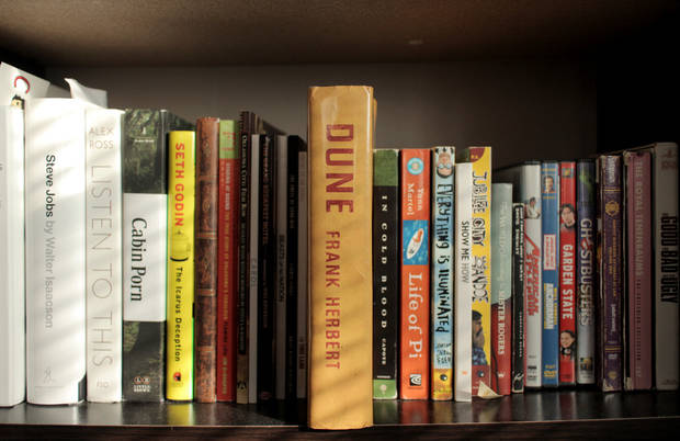 "<p>A copy of ""Dune"" sits on a shelf. [Photo by Nathan Poppe]</p>"