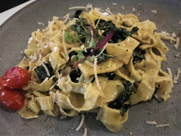 This variation on cacio e pepe was served to vegans during chef Matthew Johnson's pop-up at Piatto Italian Kitchen on Sunday. [Dave Cathey/The Oklahoman]