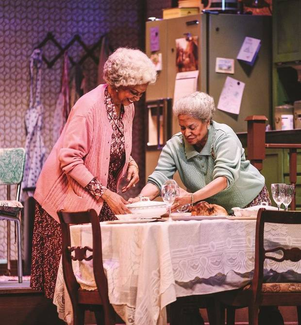 "From left, Terry Burrell plays Bessie and Julia Lema as Sadie in Lyric Theatre's ""Having Our Say."" [K. Talley Photography]"