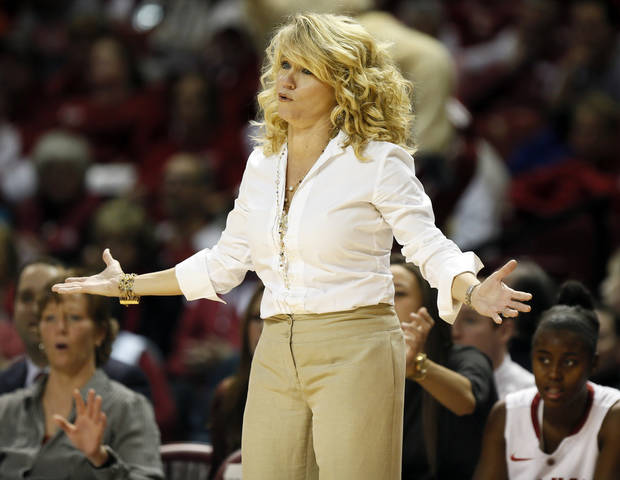 photo - OU head coach Sherri Coale reacts to a call in the first half during a women's Bedlam college basketball game between the Oklahoma State University Cowgirls (OSU) and the University of Oklahoma Sooners (OU) at Lloyd Noble Center in Norman, Okla., Saturday, Feb. 1, 2014. Photo by Nate Billings, The Oklahoman