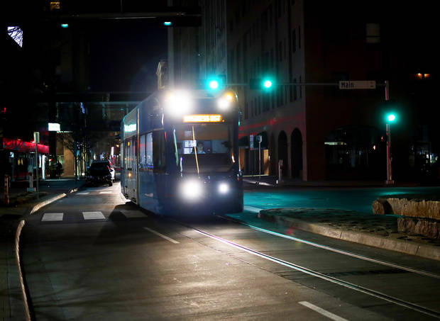 An Oklahoma City streetcar traveled south on Robinson Avenue. Transit officials added Sunday service on Feb. 10 and permanent funding for operating seven days per week is proposed for the 2019-20 budget. [Doug Hoke/The Oklahoman]