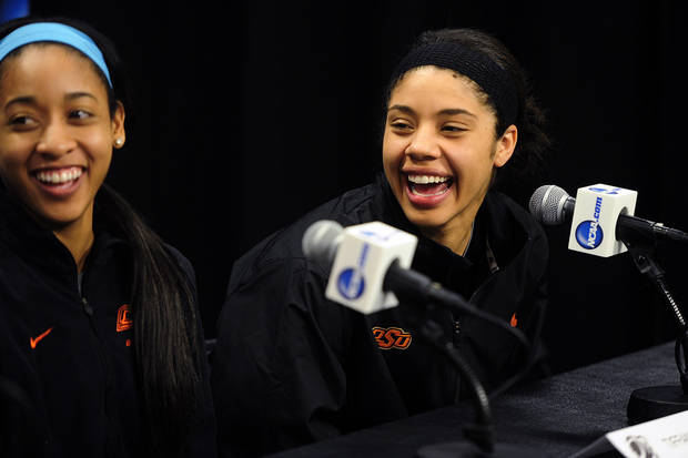 photo - CORRECTS TEAM TO OKLAHOMA STATE, NOT FLORIDA GULF COAST- Oklahoma State's Tiffany Bias, left, and Brittney Martin laugh during a press conference at the women's NCAA college basketball tournament in West Lafayette, Ind., Friday, March 21, 2014.  Florida Gulf Coast plays Oklahoma State in a first-round game on Saturday. (AP Photo/Naples Daily News, Corey Perrine) FORT MYERS OUT, MAGS OUT, TV OUT