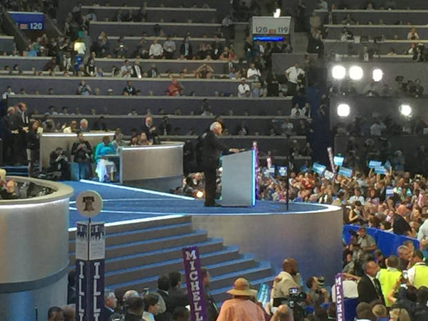 Senator Bernie Sanders speaking. -- Photo via Bill Dower, an Oklahoma delegate attending the Democratic National Convention in Philadelphia.