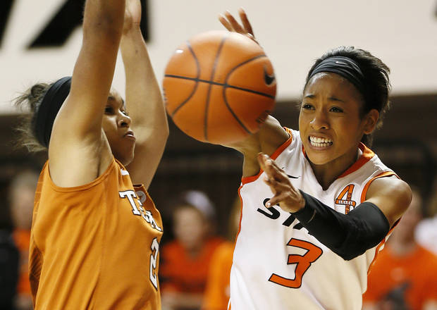 photo - Oklahoma State's Tiffany Bias (3) passes around Texas' Celina Rodrigo (2) during a women's college basketball game between Oklahoma State University (OSU) and the University of Texas at Gallagher-Iba Arena in Stillwater, Okla., Saturday, March 2, 2013. OSU won, 64-58. Photo by Nate Billings, The Oklahoman