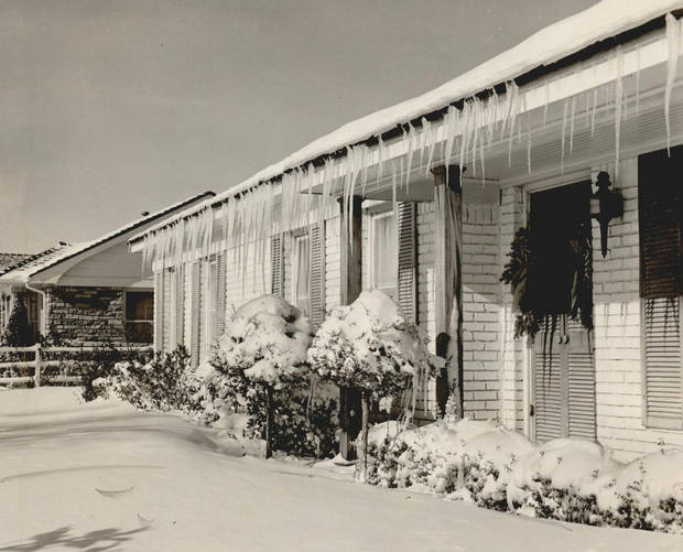 Dec. 22, 1954: Icicles hang on the eve of this Nichols Hills home at 1701 Dorchester Place. [Photo by Bob Albright, The Oklahoman Archives]