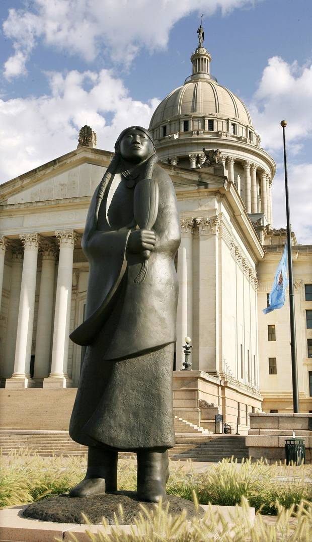 "Allan Houser's sculpture ""As Long as the Waters Flow"" stands on the grounds at the state Capitol in Oklahoma City Wednesday, August 19, 2009. [The Oklahoman Archives]"