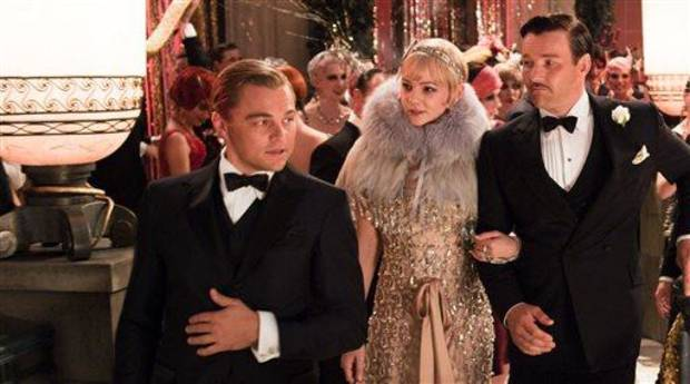 "photo - This undated publicity photo released by courtesy Warner Bros. Pictures shows, from left, Leonardo DiCaprio as Jay Gatsby, Carey Mulligan, as Daisy Buchanan and Joel Edgerton as Tom Buchanan in Warner Bros. Pictures and Village Roadshow Pictures drama, ""The Great Gatsby,"" a Warner Bros. Pictures release. (AP Photo/Warner Bros. Pictures)"