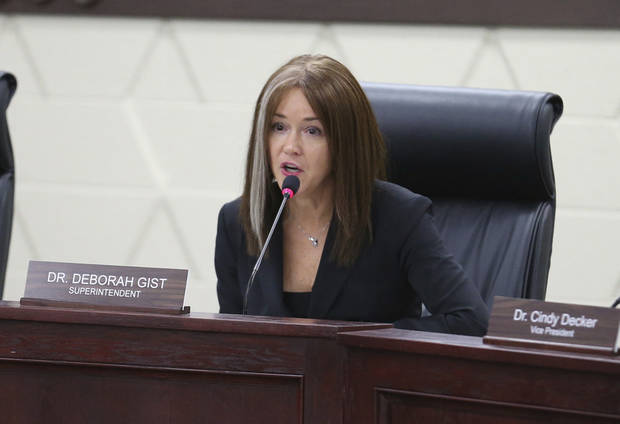 In this March 5, 2018, photo, Superintendent Deborah Gist speaks during a Tulsa Public Schools board meeting in Tulsa, Oka. Tulsa Public Schools is having trouble instructing students and retaining teachers partly because of staff members' belief in a lack of support from administration and policy, according to the district's planning documents. (Joey Johnson/Tulsa World via AP)