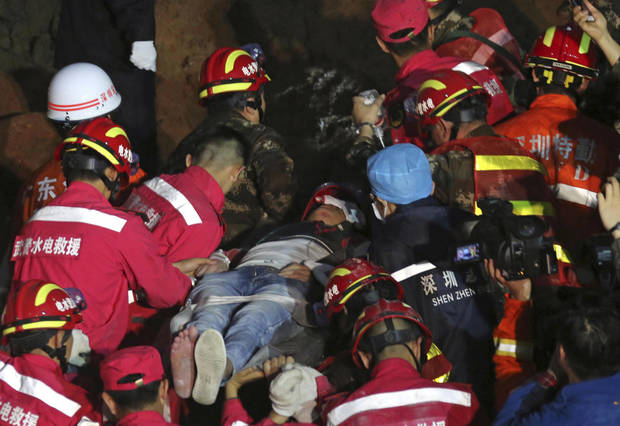 One man pulled alive from landslide in Shenzhen, China
