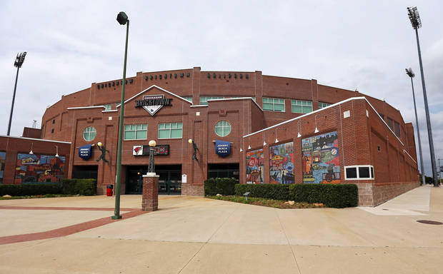 An exterior view of the Chickasaw Bricktown Ballpark looking northeast in downtown Oklahoma City on June 19, 2013. ÛPhoto by Nate Billings, The OklahomanÝ
