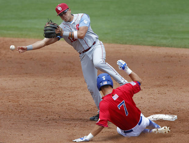 photo - Oklahoma's Hector Lorenzana (12) gets the out on Kansas' Connor McKay (7) in the Big 12 Championship baseball game between the University of Kansas Jayhawks (KU) and the University of Oklahoma Sooners (OU) at the Chickasaw Bircktown Ballpark on Sunday, May 26, 2013 in Oklahoma City, Okla.  Photo by Chris Landsberger, The Oklahoman
