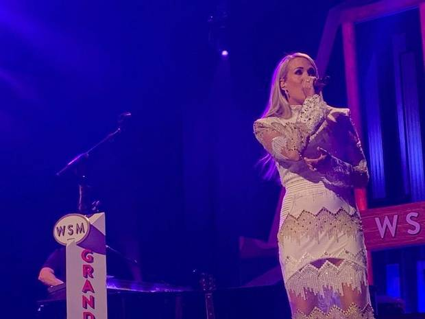 Carrie Underwood performs Tuesday night at the Grand Ole Opry in Nashville, Tennessee. [Opry photo by Photos by Hollo Photographics Inc.]