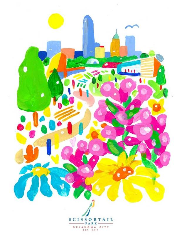 OKC artist Kris Kanaly designed the limited-edition poster for the grand opening of Scissortail Park. [Image provided]