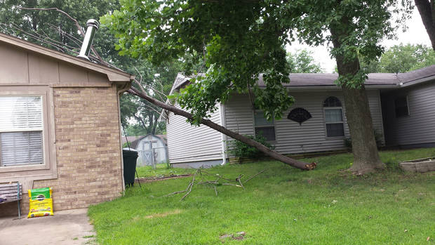 photo -  Heavy winds toppled a weakened tree limb onto the roof of The Oklahoman's Sheila Stogsdill, who learned that her insurance policy was liable for covering the damage. PHOTO BY SHEILA STOGSDILL, FOR THE OKLAHOMAN