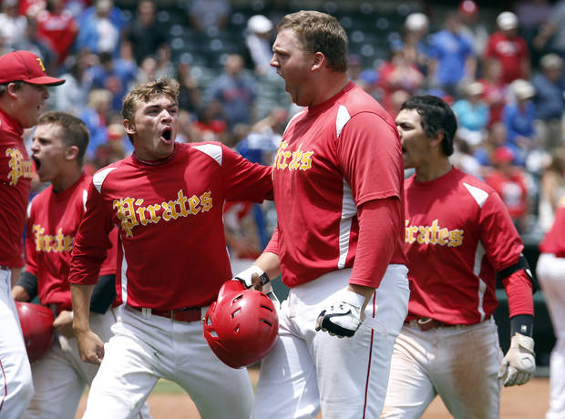 photo - Dale's Hunter Pinkston celebrates a run during the class 2A state baseball championship game between Dale and Silo at the Chickasaw Bricktown Ballpark in Oklahoma City, Saturday, May 17, 2014. Photo by Sarah Phipps, The Oklahoman