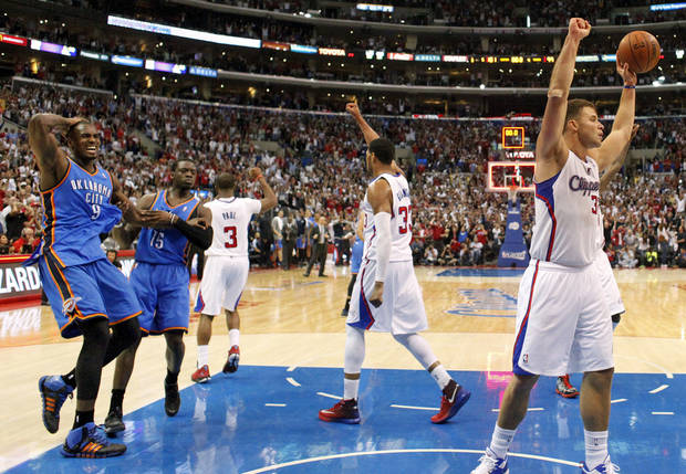photo - From left, Oklahoma City's Serge Ibaka (9), Reggie Jackson (15), Los Angeles' Chris Paul (3), Danny Granger (33) and Blake Griffin (32) react at the end of Game 4 of the Western Conference semifinals in the NBA playoffs between the Oklahoma City Thunder and the Los Angeles Clippers at the Staples Center in Los Angeles, Sunday, May 11, 2014. The Clippers won 101-99. Photo by Nate Billings, The Oklahoman