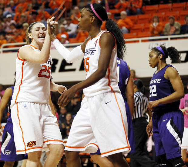 photo - WOMEN'S COLLEGE BASKETBALL / REACTION: Oklahoma State's Lindsey Keller (25) and Toni Young (15) react in front of Kansas State's Mariah White (22) after Young made a shot and was fouled during an NCAA women's basketball game between Oklahoma State University (OSU) and Kansas State at Gallagher-Iba Arena in Stillwater, Okla., Saturday, Feb. 16, 2013. Photo by Nate Billings, The Oklahoman